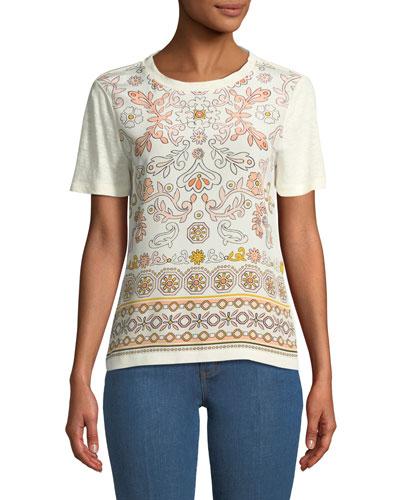 Kayla Garden-Print Linen T-Shirt
