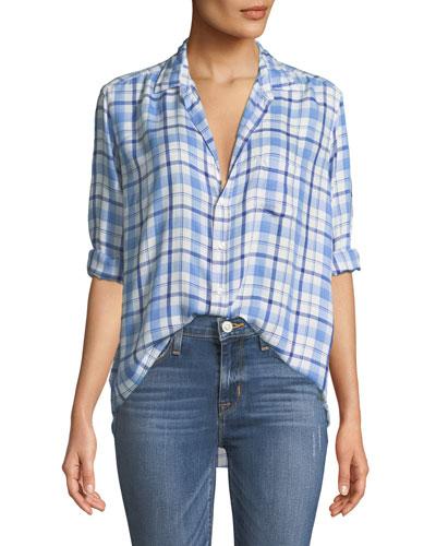 Eileen Plaid Long-Sleeve Button-Down Shirt