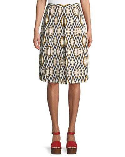 Faye Diamond-Print Culotte Trousers
