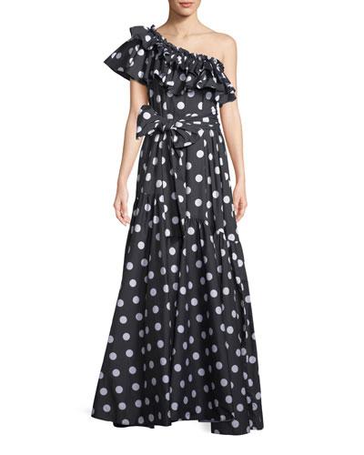 Rhea Polka-Dot Print One-Shoulder Dress