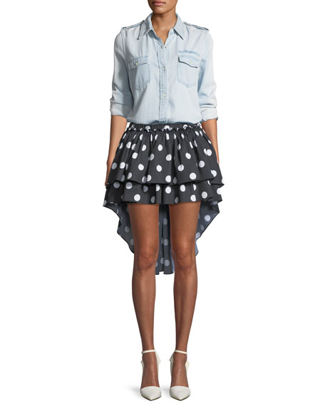 Gulia Tiered Ruffled High-Low Mini Skirt