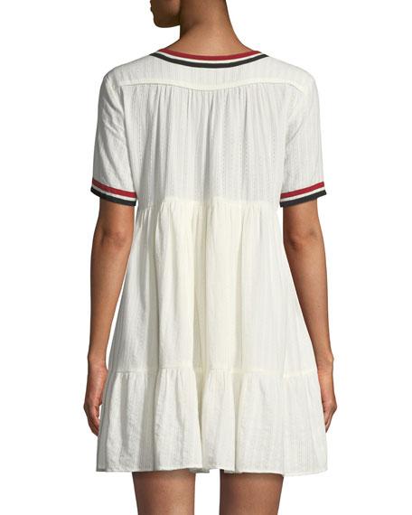 Dese V-Neck Short-Sleeve Cotton Dress with Striped Trim