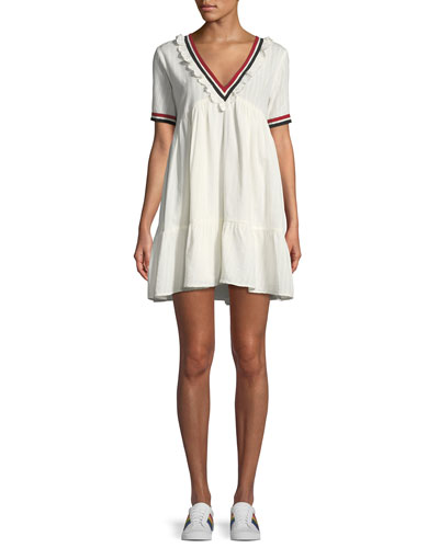 Dese V-Neck Short-Sleeve Cotton Dress with Striped Trim