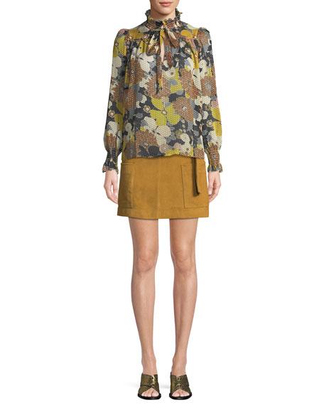 Lid Short Suede A-Line  Skirt