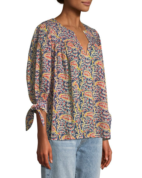 Rolm Split-Neck Tie-Cuff Printed Cotton Top