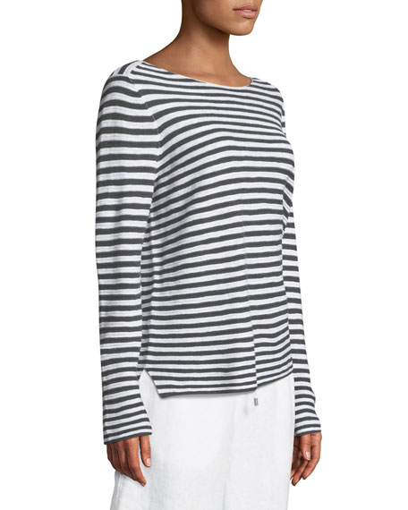Striped Long-Sleeve Organic Linen/Cotton Sweater