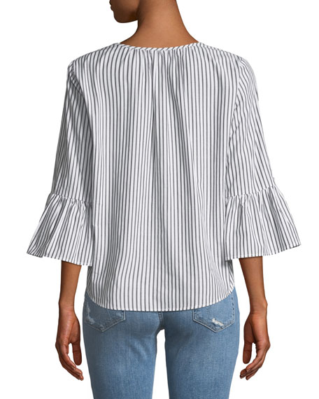 Albertine Striped Bell-Sleeve Poplin Top