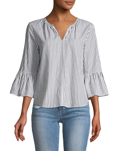 Albertine Striped Bell-Sleeve Poplin Top