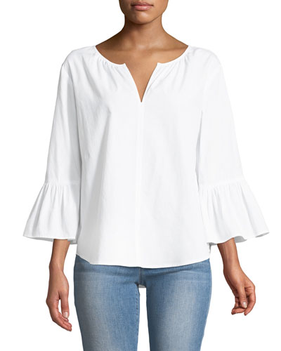 Farley V-Neck Bell-Sleeve Poplin Top