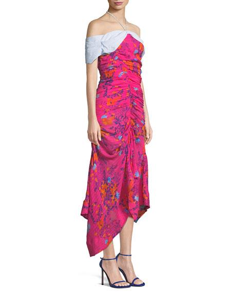 Virgina Ruched Silk Off-the-Shoulder Dress