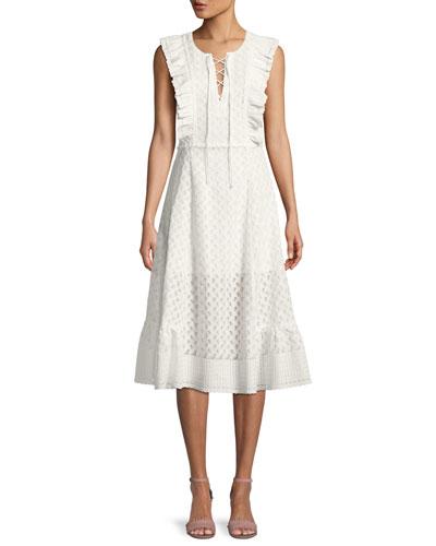 Reghan Sleeveless Embroidered Midi Dress