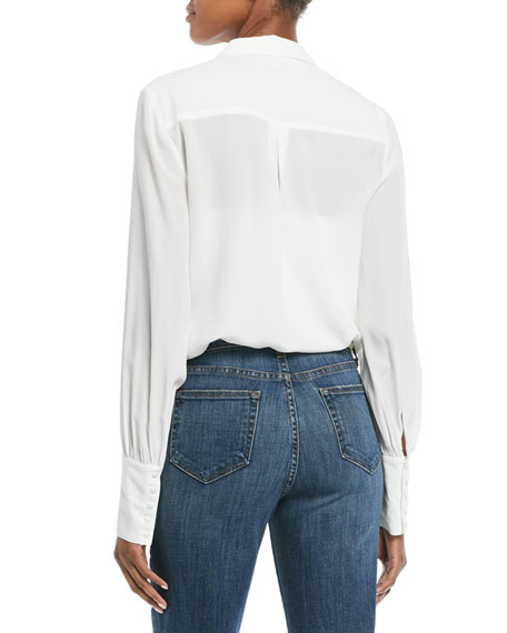 Naomi Button-Front Silk Blouse