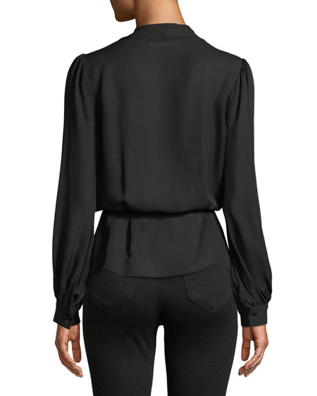 Cara Long-Sleeve Silk Wrap Blouse