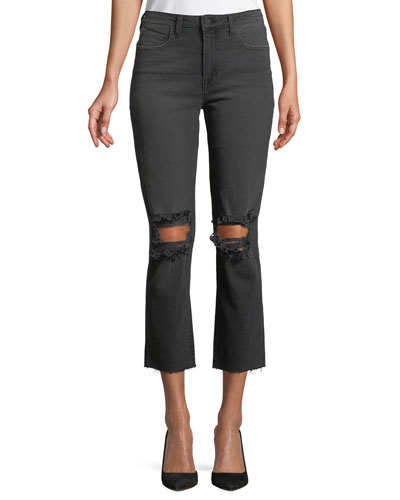 Audrina Distressed-Knee Crop Straight-Leg Jeans