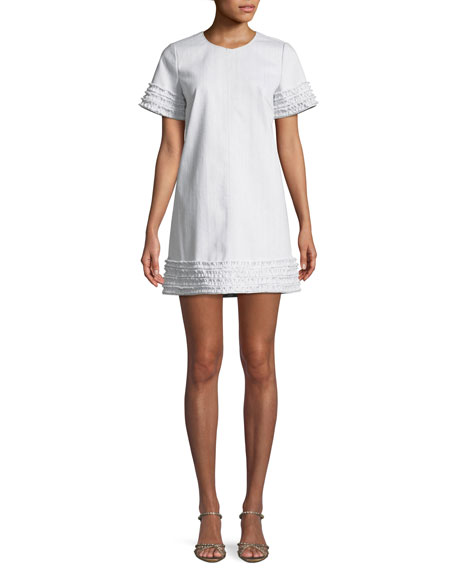 Ashton Crewneck Short-Sleeve Cotton Shift Dress W/ Frayed Trim, White