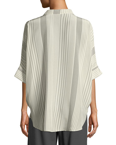 Striped Silk Half-Sleeve Shirt, Petite