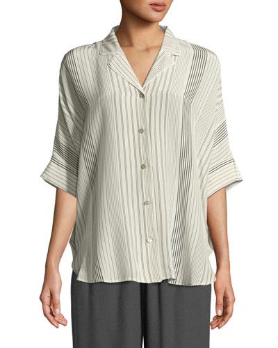 Striped Silk Half-Sleeve Shirt, Petite