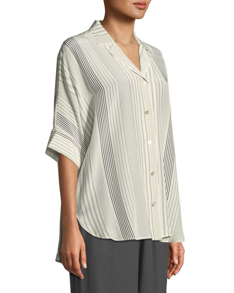 Striped Silk Half-Sleeve Shirt