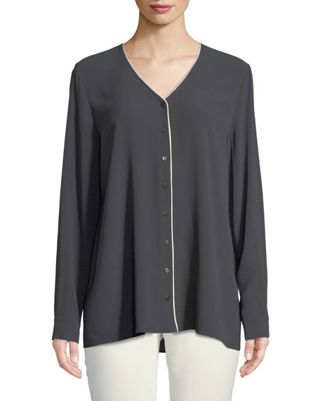 Contrast-Piping Silk Top