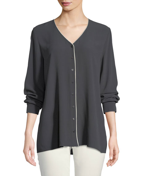 Eileen Fisher Contrast-Piping Silk Top and Matching Items