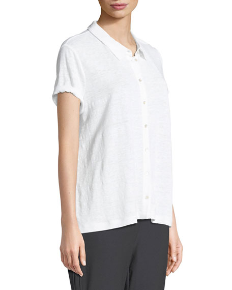 Organic Linen Button-Front Top, Petite