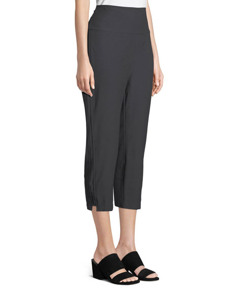 Washable-Crepe Fold-Over Cropped Pants, Petite