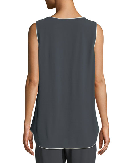 Silk Georgette Scoop-Neck Tank, Petite
