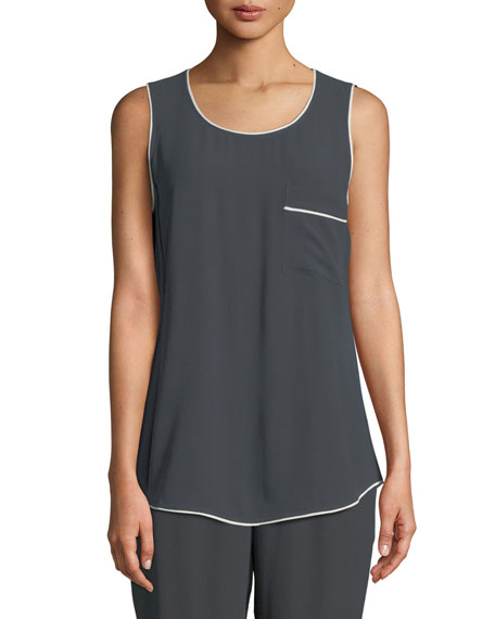 Eileen Fisher Silk Georgette Scoop-Neck Tank, Petite and