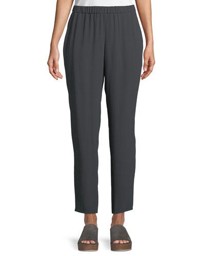 Silk Georgette Ankle Pants, Petite