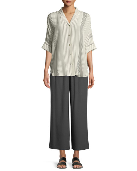Drawstring-Waist Wide-Leg Linen Cropped Pants, Plus Size