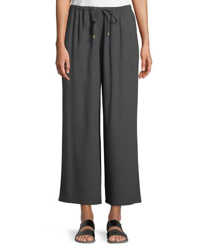 Drawstring-Waist Wide-Leg Linen Cropped Pants, Plus Size