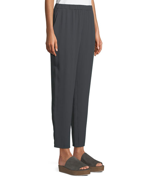 Silk Georgette Ankle Pants, Plus Size