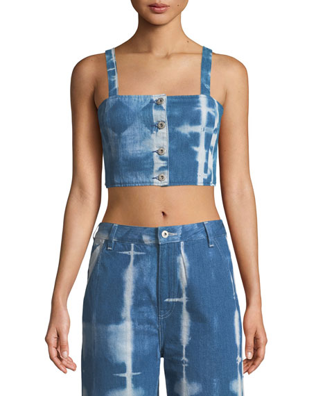 Levi's Made & Crafted Button-Front Tie-Dye Denim Crop