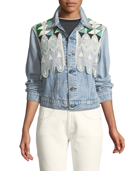 Boyfriend Denim Trucker Jacket w/ Embroidery