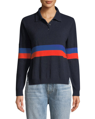 The Rainey Long-Sleeve Cashmere Combo Top