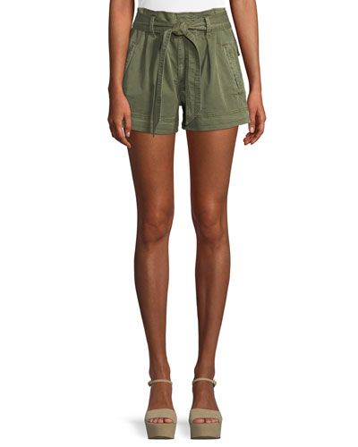 High-Waist Belted Paperbag Shorts