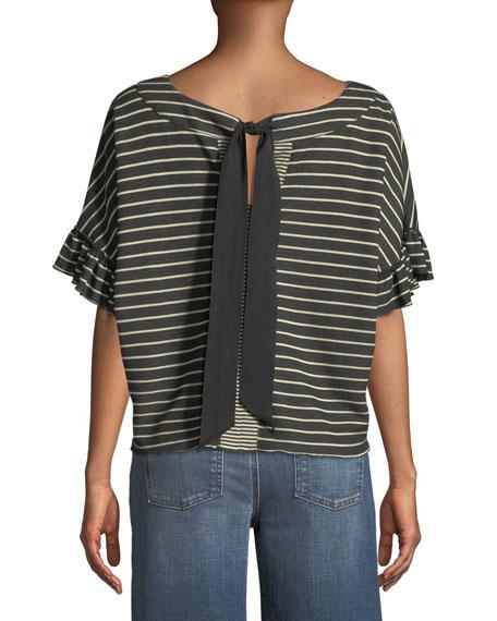 Reversible Striped Short-Sleeve Tie-Back  Tee