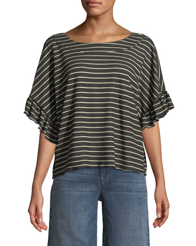 Reversible Striped Short-Sleeve Tie-Back  Tee