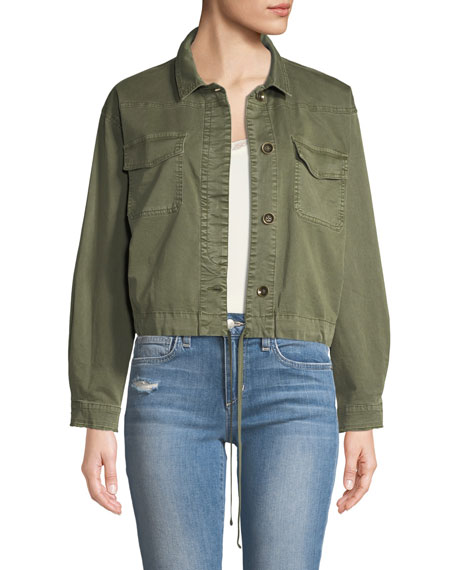 Ella Moss Button-Down Military-Style Cotton Jacket
