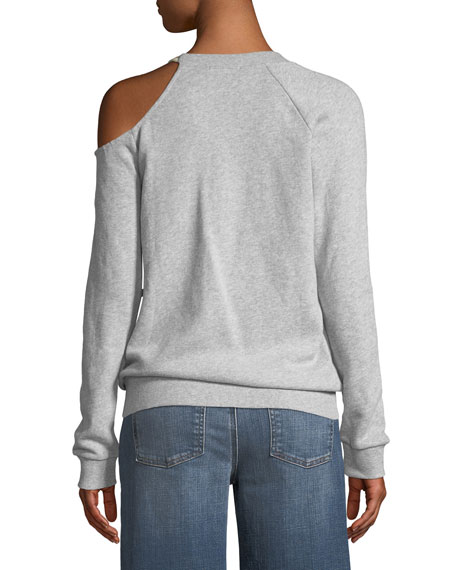 Tie-Shoulder Long-Sleeve Pullover Sweatshirt