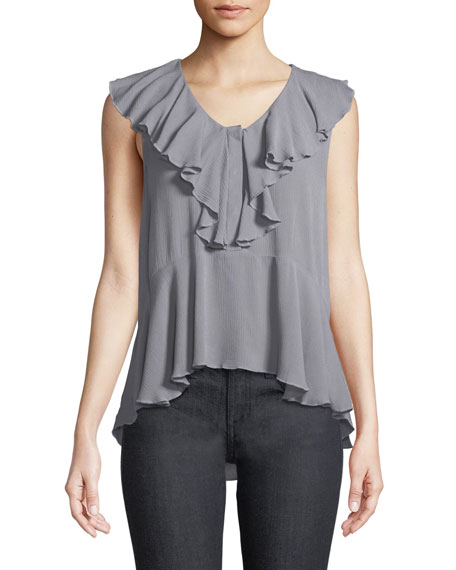 Sleeveless Button-Front Ruffle Top