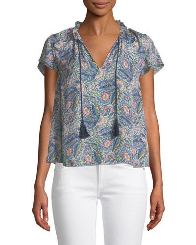 Floral-Print Short-Sleeve V-Neck Blouse