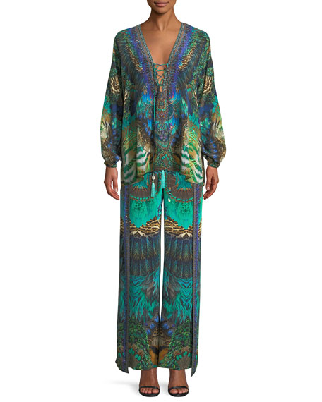 Embellished Silk Split-Leg Drawstring Pants