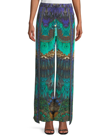 Camilla Embellished Silk Split-Leg Drawstring Pants