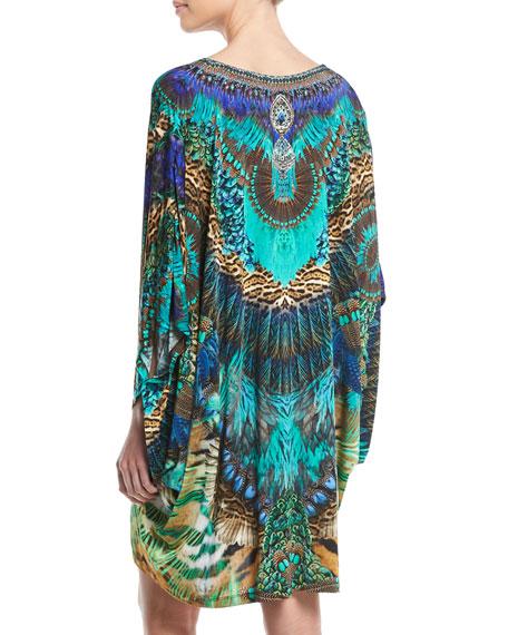 Embellished Bat-Sleeve Kaftan Dress, One Size