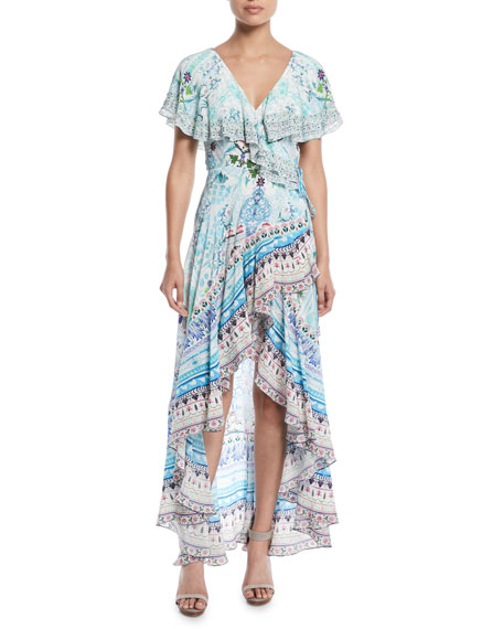 Frill-Sleeve Silk Wrap Coverup Dress