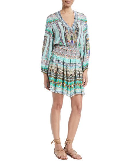 Embellished Printed Long-Sleeve Dress