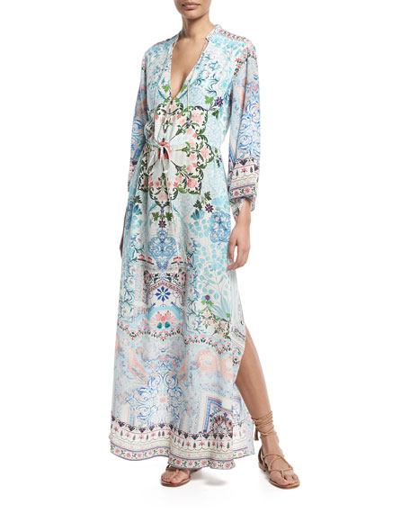 Printed Drawstring Long-Sleeve Silk Maxi Dress