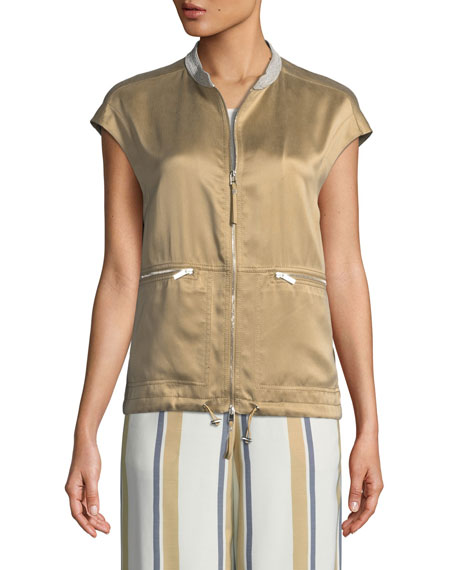Tonya Artistry Silk Vest with Chain Detail