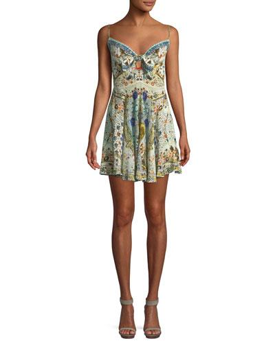 Embellished Tie-Front Sleeveless Mini Dress
